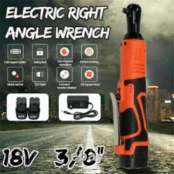100NM Electric Cordless Ratchet Wrench 90° Right Angle 3/8 Drill Screwdriver 2B