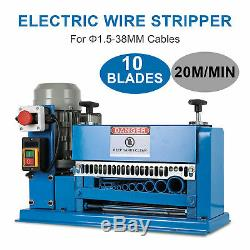 10 Blades Electric Wire Stripping Machine Copper Recycle Cable Stripper 1.538mm