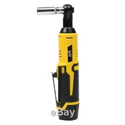 12V 35NM LED Cordless Electric Ratchet Wrench Rechargeable Right Angle Wrench To