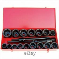 21 PC 1 Inch Drive Deep Impact Metric Socket Tool Set Truck Large MM