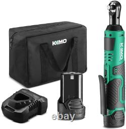 Cordless Electric Ratchet Wrench 3/8 40 Ft-lbs 400 RPM 12V Power Battery KIMO