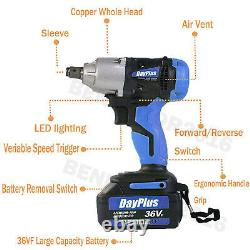 Electric Cordless Impact Wrench 1/2 Inch Driver Tool Case for Car Tyre Wheel Set