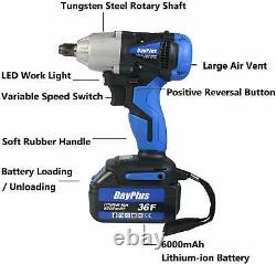 Heavy Duty 1/2'' 420Nm Electric Cordless Impact Wrench Gun Driver Tool+Batteries
