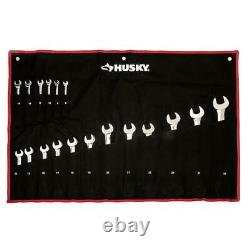 Husky Ratcheting Wrench Set Master Metric Alloy Steel Durable Chrome 18 Piece