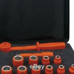 Jameson 1000 Volt Insulated 1/2 Inch Drive Combo Socket Set Electrical 12 Piece