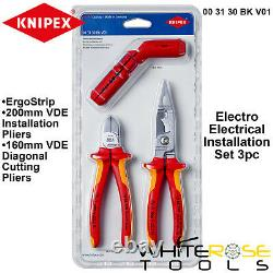 Knipex VDE Electrical Installation Set 3pc ErgoStrip Diagonal Cutters Pliers