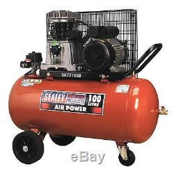 SealeyCompressor 100ltr Belt Drive 3hp with Cast Cylinders and Wheels SAC2103B