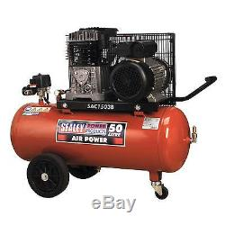 Sealey Compressor 50ltr Belt Drive 3hp with Cast Cylinders and Wheels SAC1503B