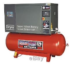 Sealey Screw Compressor 270ltr 10hp 3ph Low Noise with Dryer SSC12710D